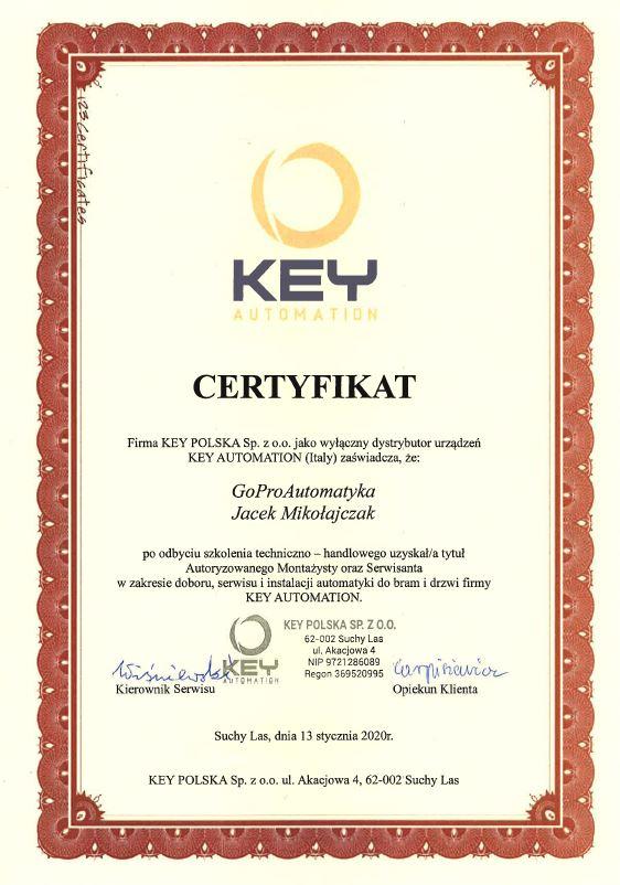 Certyfikat Key GoProAutomatyka